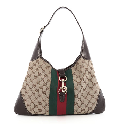 a8463ea7 Buy Gucci Web Jackie O Handbag GG Canvas Medium Brown 1819601 – Rebag