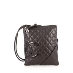 Chanel Cambon Crossbody Bag Quilted Leather Medium Brown
