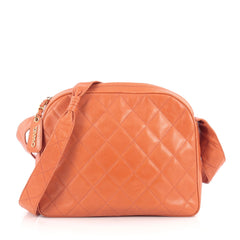 Chanel Vintage Camera Bag Quilted Caviar Medium Orange 1822106