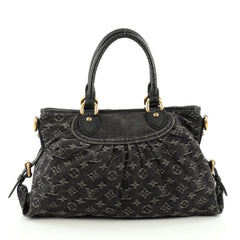 Louis Vuitton Neo Cabby Handbag Denim MM Black 1822115
