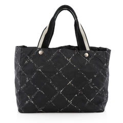 Chanel Travel Line Tote Printed Nylon Large Black