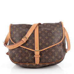 Louis Vuitton Saumur Handbag Monogram Canvas GM Brown
