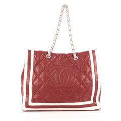 Chanel CC Shopping Tote Quilted Lambskin XL Red