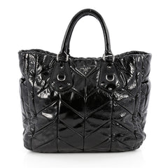 Prada Convertible Side Pocket Tote Chevron Patent Large Black