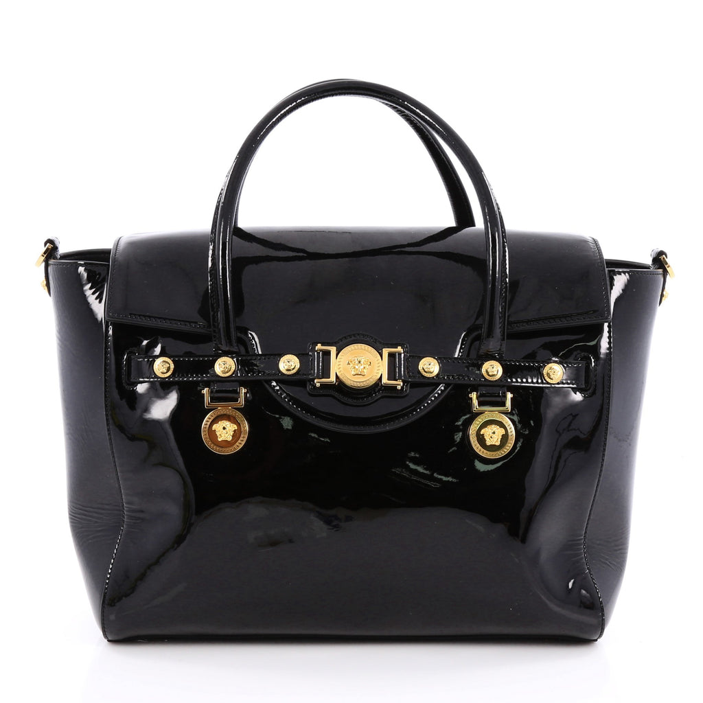 454fcedf Buy Versace Signature Tote Patent Large Black 1823801