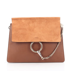 Chloe Faye Shoulder Bag Leather and Suede Medium Brown