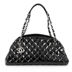 Chanel Just Mademoiselle Handbag Quilted Patent Medium Black 1824601