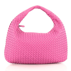 Bottega Veneta Veneta Hobo Intrecciato Nappa Medium Pink 1825401