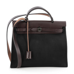 Hermes Herbag Zip Leather and Toile 31 Black 1825701
