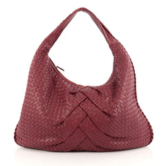 Bottega Veneta Veneta Hobo Pleated Intrecciato Nappa Maxi Red 1825804