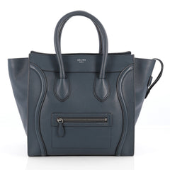 Celine Luggage Handbag Grainy Leather Mini Blue 1826401