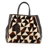 Fendi 2Jours Handbag Cut Velvet Large Brown 1828001