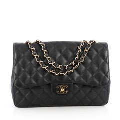 Chanel Vintage Classic Single Flap Bag Quilted Caviar Jumbo Black 1829701