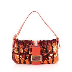 Fendi Baguette Shoulder Bag Beaded Satin with Crystals Orange 1829802