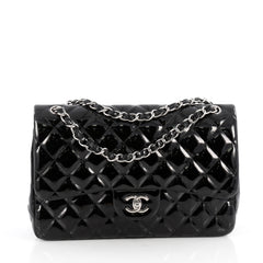 Chanel Classic Double Flap Bag Quilted Patent Jumbo Black 1831902