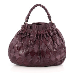 Miu Miu Convertible Hobo Matelasse Leather Medium Purple 1834101
