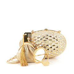 Judith Leiber Egg Minaudiere Embellished Metal Small Gold 1834604