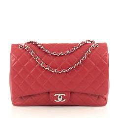 Chanel Classic Double Flap Bag Quilted Caviar Maxi Red 1834901