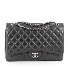 Chanel Classic Double Flap Bag Quilted Lambskin Maxi Gray 1834904