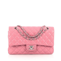 Chanel Classic Double Flap Bag Quilted Lambskin Medium Pink 1834906