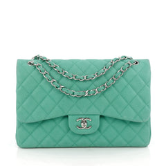 Chanel Classic Double Flap Bag Quilted Matte Caviar Jumbo Green 1834907