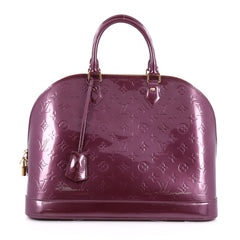 Louis Vuitton Alma Handbag Monogram Vernis GM Purple