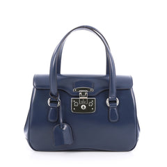 Gucci Lady Lock Satchel Leather Small Blue
