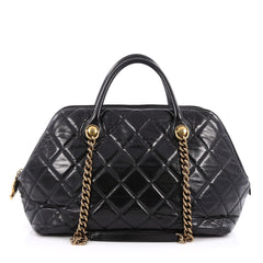 Chanel Castle Rock Bowler Bag Quilted Glazed Calfskin Black