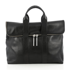 3.1 Phillip Lim 31 Hour Fold-Over Tote Leather Black 1837201