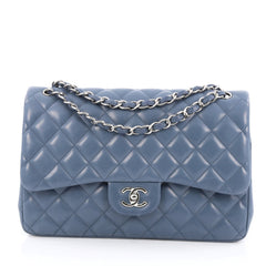 Chanel Classic Double Flap Bag Quilted Lambskin Jumbo  Blue
