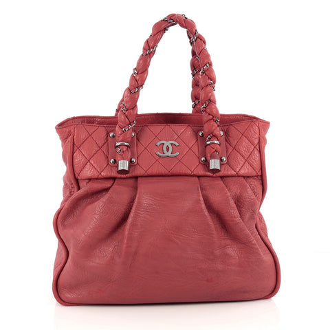 b80e98ee3948 Buy Chanel Lady Braid Tote Distressed Lambskin Large Red 1839602 – Rebag