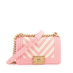 Chanel Boy Flap Bag Braided Chevron Calfskin Small Pink