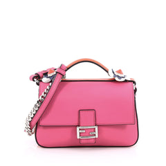 Fendi Double Baguette Flowerland Crossbody Bag Leather Micro Pink
