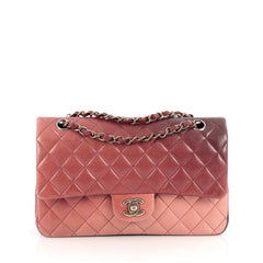 Chanel Classic Double Flap Bag Ombre Quilted Lambskin Medium Pink