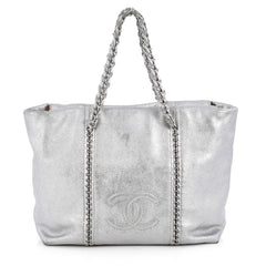 Chanel Luxe Ligne ZIp Top Tote Calfskin Large Silver