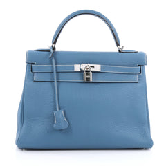 Hermes Kelly Handbag Blue Clemence with Palladium 1843801