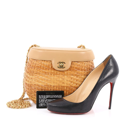 7a4a1ab1504d25 Buy Chanel Vintage Basket Bag Wicker and Leather Small Brown 1844401 ...
