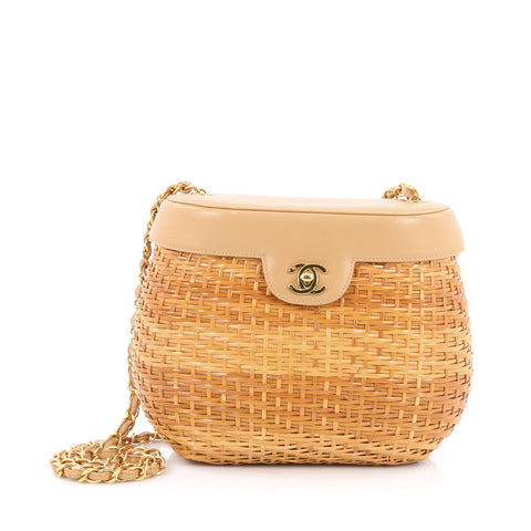 1594f9588b15 Buy Chanel Vintage Basket Bag Wicker and Leather Small Brown 1844401 – Rebag