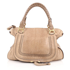 Chloe Marcie Shoulder Bag Python Large Brown 1844504