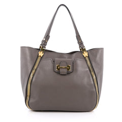 Tom Ford Sedgwick Zip Tote Leather Medium Gray 1844511