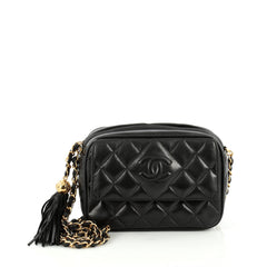 7e57533c9cf7 Chanel Vintage Diamond CC Flap Pocket Camera Bag Quilted Lambskin Small  Black