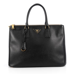Prada Double Zip Lux Tote Saffiano Leather Large Black 1848801