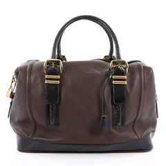 Versace Zip Satchel Leather with Embossed Patent Large Brown 1848903