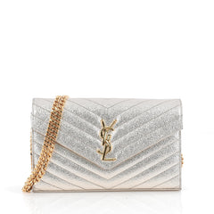 Saint Laurent Classic Monogram Chain Wallet Metallic 1849301