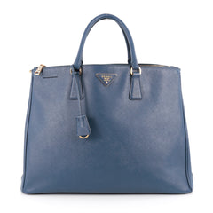 Prada Double Zip Lux Tote Saffiano Leather Large Blue 1851703