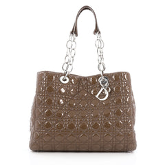 Christian Dior Soft Chain Tote Cannage Quilt Patent Large Brown