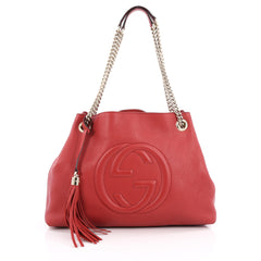 Gucci Soho Shoulder Bag Chain Strap Leather Medium Red
