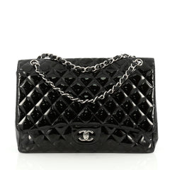 Chanel Classic Double Flap Bag Quilted Patent Maxi Black 1854409