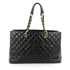 Chanel Grand Shopping Tote Quilted Caviar XL Black 1854411