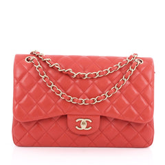 Chanel Classic Double Flap Bag Quilted Lambskin Jumbo Red